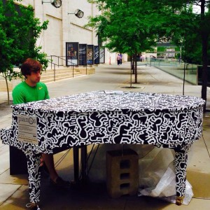 Piano designed by the Keith Haring Foundation, New York.