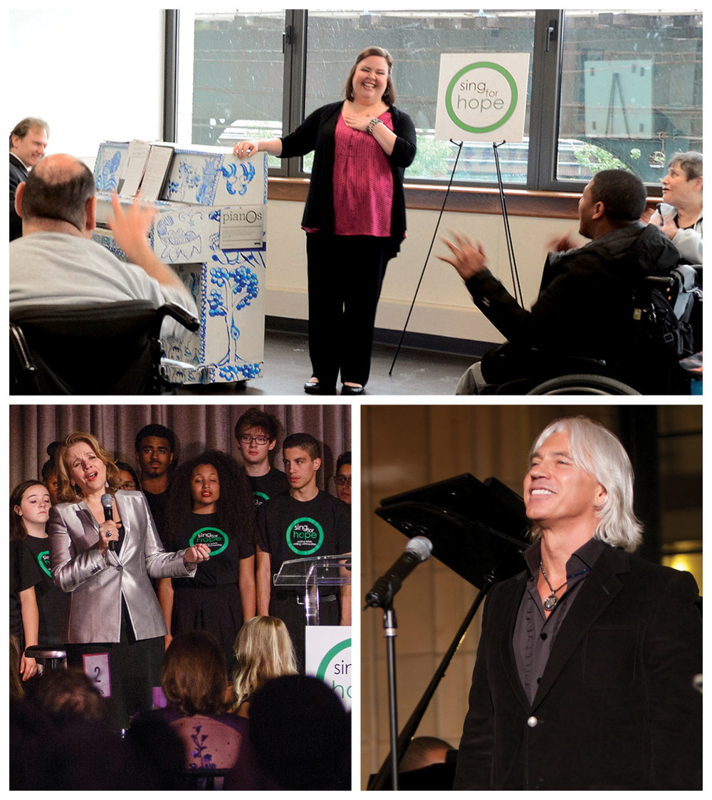 top: 2015 Richard Tucker Award Winner Jamie Barton collaborates with new friends at Sing for Hope partner site in the Bronx. bottom left: Sing for Hope Founding Board Member Renée Fleming with Sing for Hope students. bottom right: Dmitri Hvorostovsky in performance at Sing for Hope Gala